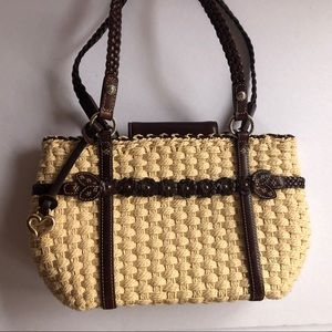 NWOT Brighton Straw & leather handbag